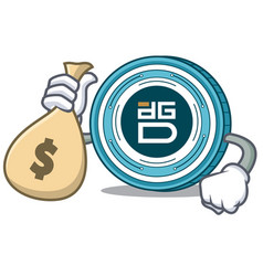 with money bag digixdao coin character cartoon vector image