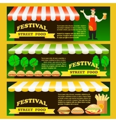 Set street fast food festival flyers vector