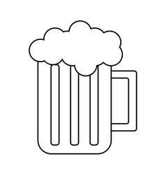 Glass beer mug foam cold drink outline vector