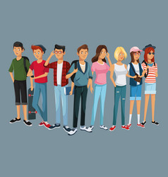 teens group fashion student modern style vector image