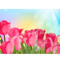 Pink tulip with bokeh eps10 vector