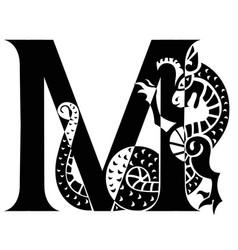 Capital letter m with gargoyle vector