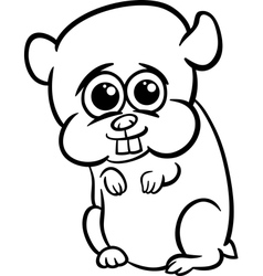 Baby hamster cartoon coloring page vector