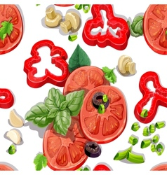 Seamless ornament with fresh vegetables vector image