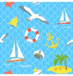 Nautical sea icons seamless pattern vector
