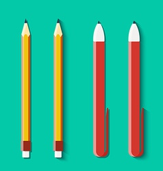 Set of pencils and handles in flat style vector
