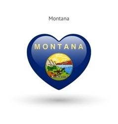 Love montana state symbol heart flag icon vector