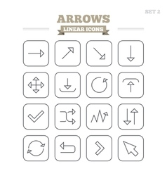 Arrows linear icons set thin outline signs vector