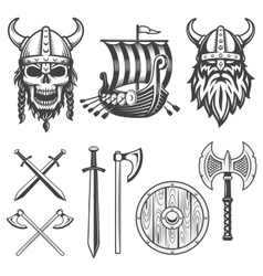 Set of monochrome viking elements vector image