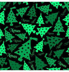 Set of christmas green tree decoration dark vector