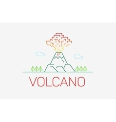 Volcano exploding icon thin line icon modern vector