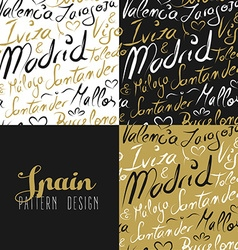 Travel spain europe seamless pattern gold madrid vector