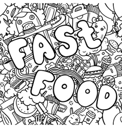 Seamless menu pattern with fast food symbols vector image