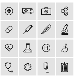 Line medical icon set vector