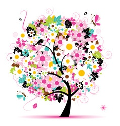 Summer floral tree for your design vector image