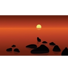 At sunrrise in beach scenery vector