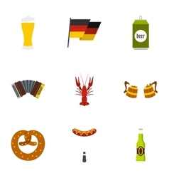 Beer fest icons set flat style vector