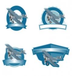 biplane label vector image