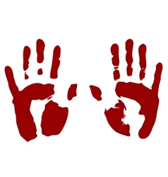 Bloody print of hands vector