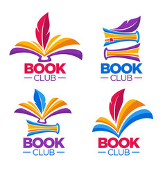 book club library or shop cartoon logo template vector image vector image