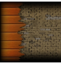 Broken wooden planks in the background of a brick vector