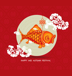 Chinese carp lantern colorful happy mid autumn vector
