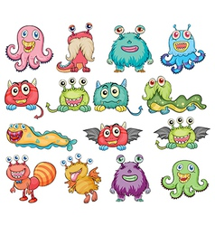 Cute and colorful monsters vector image vector image