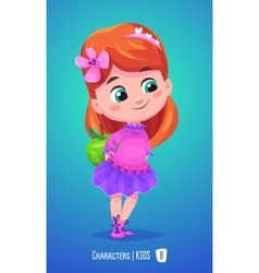 Cute girl with apple Back to school vector image vector image
