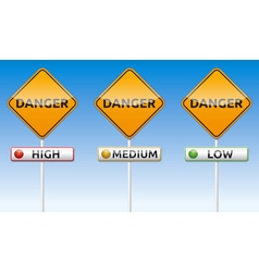 Danger - high medium low traffic board vector image vector image