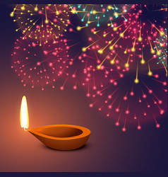 Festival fireworks background with diya vector