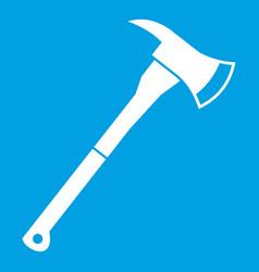 Firefighter axe icon white vector