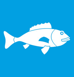 fish icon white vector image vector image