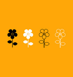 flower black and white set icon vector image vector image