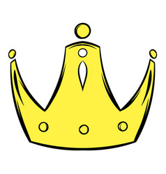 Gold crown icon cartoon vector