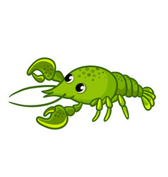green crayfish on white background vector image vector image