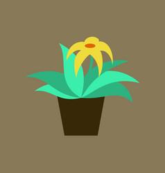 icon in flat design flowering pot vector image vector image