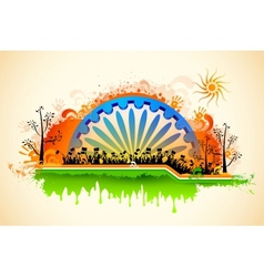 Indian citizen waving flag on tricolor flag vector