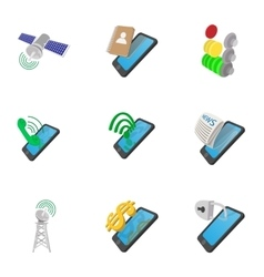 Mobile phone use icons set cartoon style vector