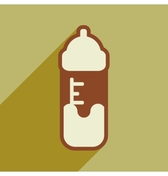 Modern flat icon with long shadow baby bottle vector