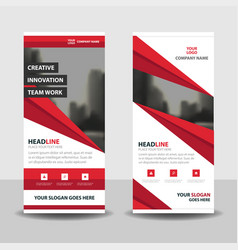 red abstract business roll up banner flat vector image vector image