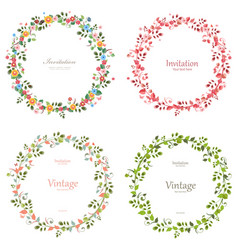 romantic floral collection of wreaths for your vector image