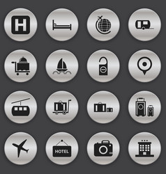 set of 16 editable journey icons includes symbols vector image