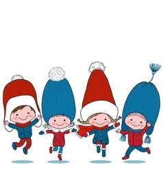 Set of four kids in big winter hats vector