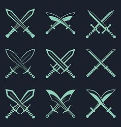 Set of heraldic swords and sabres for heraldry vector