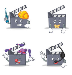 Set of movie clapper character with automotive vector