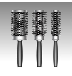 Set of plastic curling radial hair brush vector