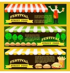 Set street fast food festival flyers vector