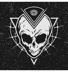 Skull is an alien with geometric elements vector