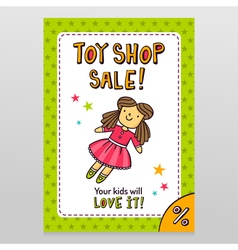 Toy shop sale flyer design with cute doll in pink vector
