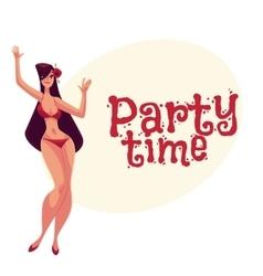 Young curvy woman with long black hair in bikini vector